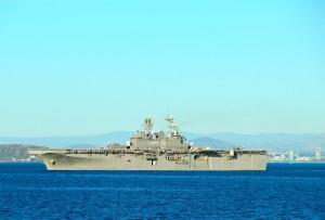 Naval carrier off San Diego Coastline