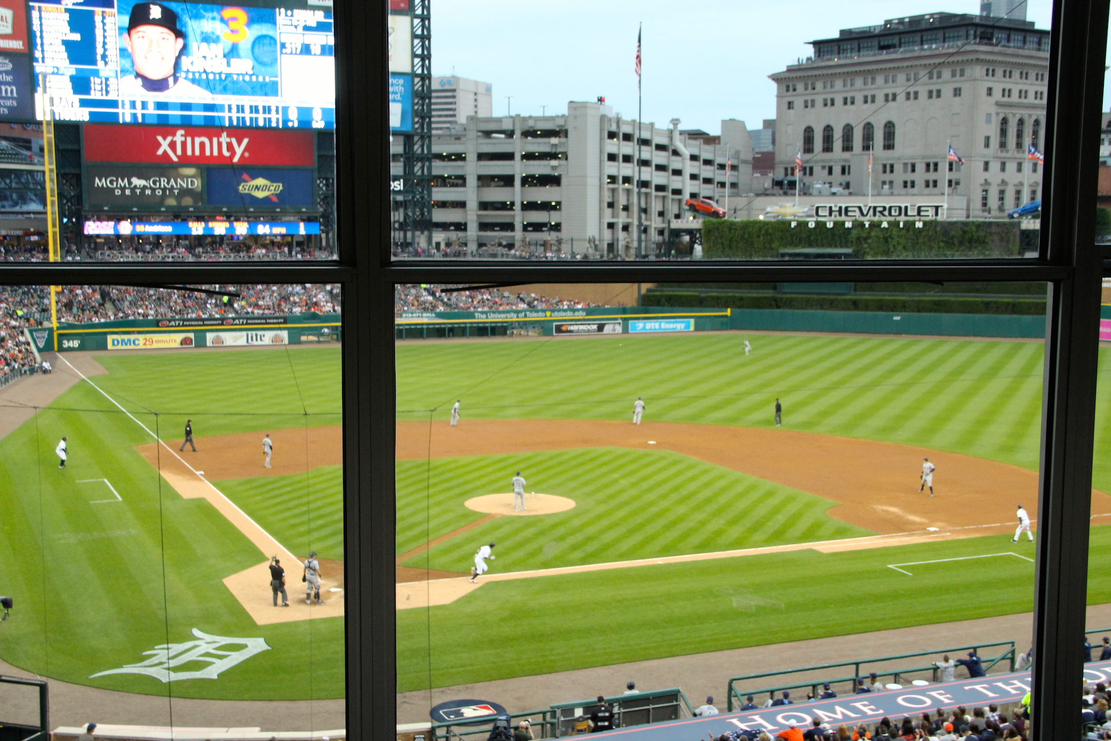 View from the Press Box at Comerica Park home of the Detroit Tigers  Photo Credit: Tom Wilmer