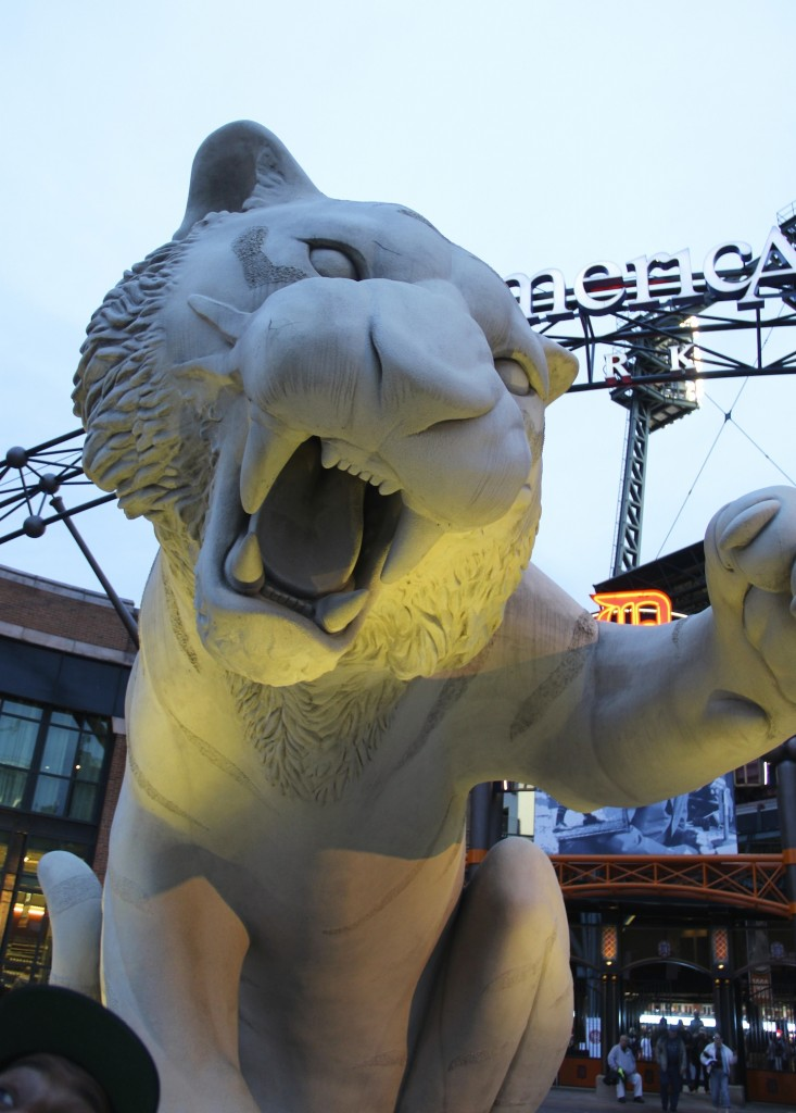 Detroit Tigers' mascot in front of Comerica Park downtown Detroit, Michigan  Photo Credit: Tom Wilmer