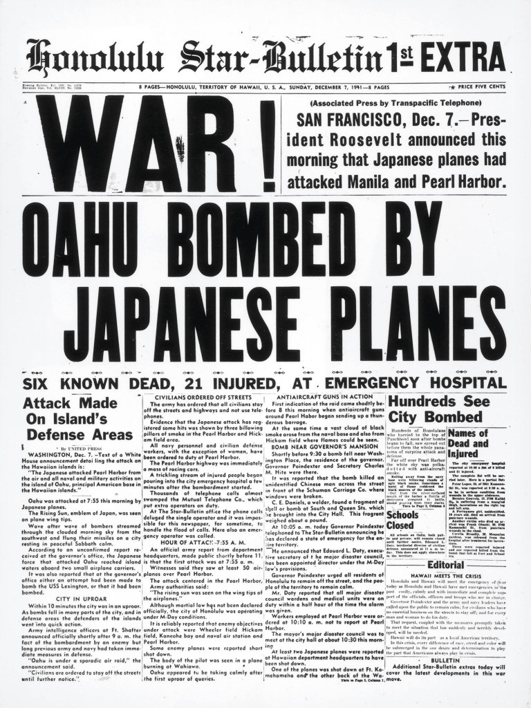 December 7th 1941 Honolulu Star Bulletin newspaper