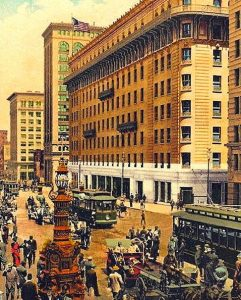 """The """"new"""" Palace Hotel replaced the circa 1875 hotel that was destroyed in the 1906 earthquake"""