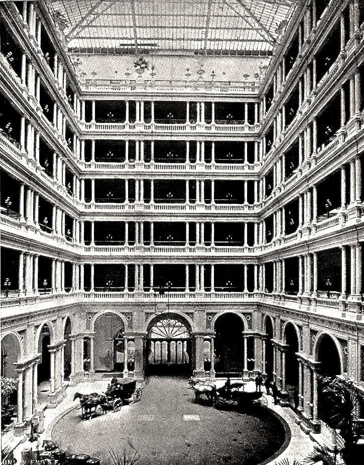 The 1875 Palace Hotel included interior entry for guests aboard their carriages