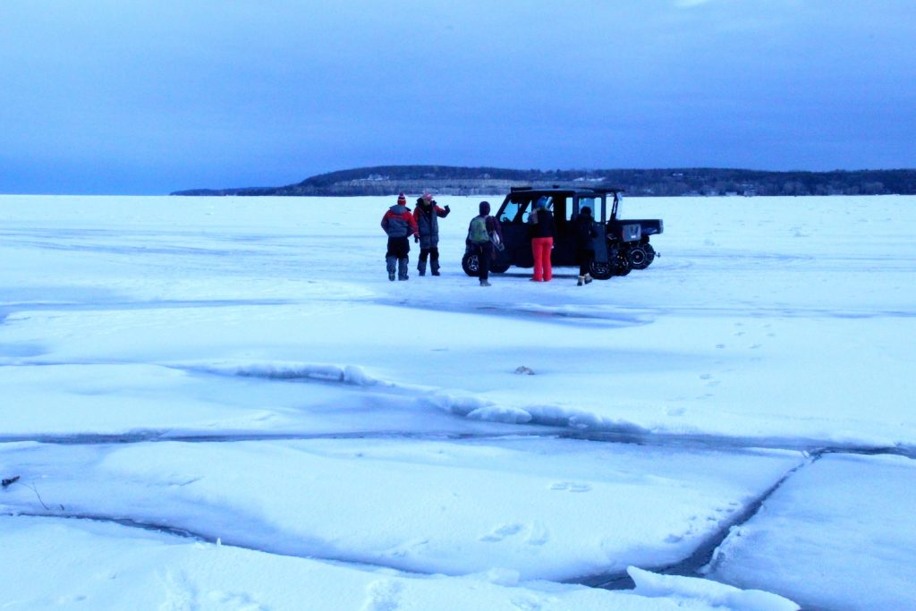 Preparing to head out ice fishing on Sturgeon Bay, Wisconsin