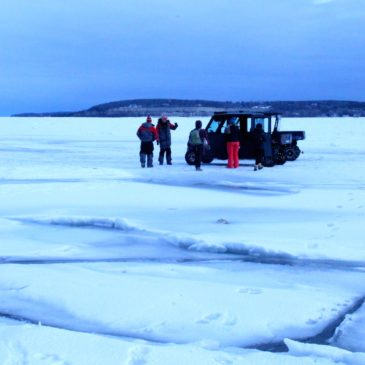 Ice fishing on Sturgeon Bay, Wisconsin