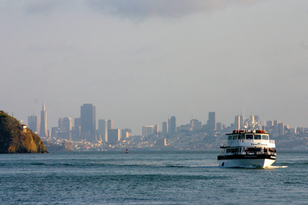 Daily travel across the San Francisco Bay onboard commuter ferry. Photo Credit: Tom Wilmer