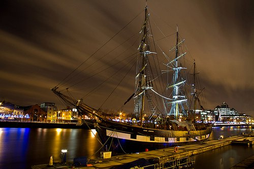 The revered famine ship Jeannie Johnston graces the Liffey in Dublin, Ireland