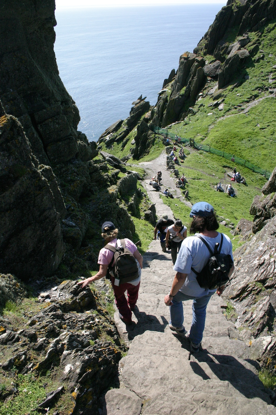 Steep hike down from top of peak of Skellig Michael, RIng of Kerry, Ireland. Photo Credit: Tom Wilmer