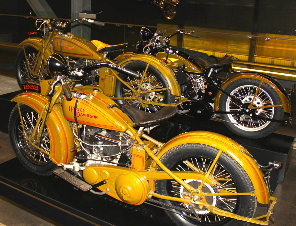 1929 & 1932 Harley-Davidson at Harley Davidson Museum Milwaukee, Wisconsin. Photo Credit Tom Wilmer