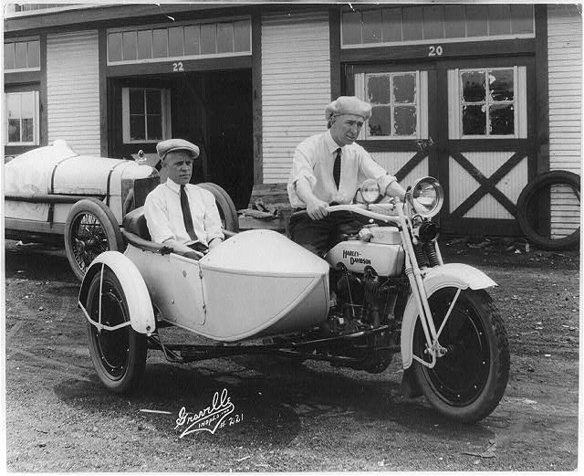 Jimmy Murphy 1922 Indianapolis 500 winner aboard his Harley Davidson. Photo Credit: Library of Congress