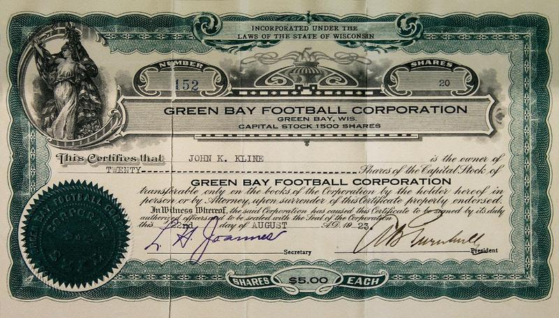 Green Bay Packers stock certificate. Credit: Green Bay Packers