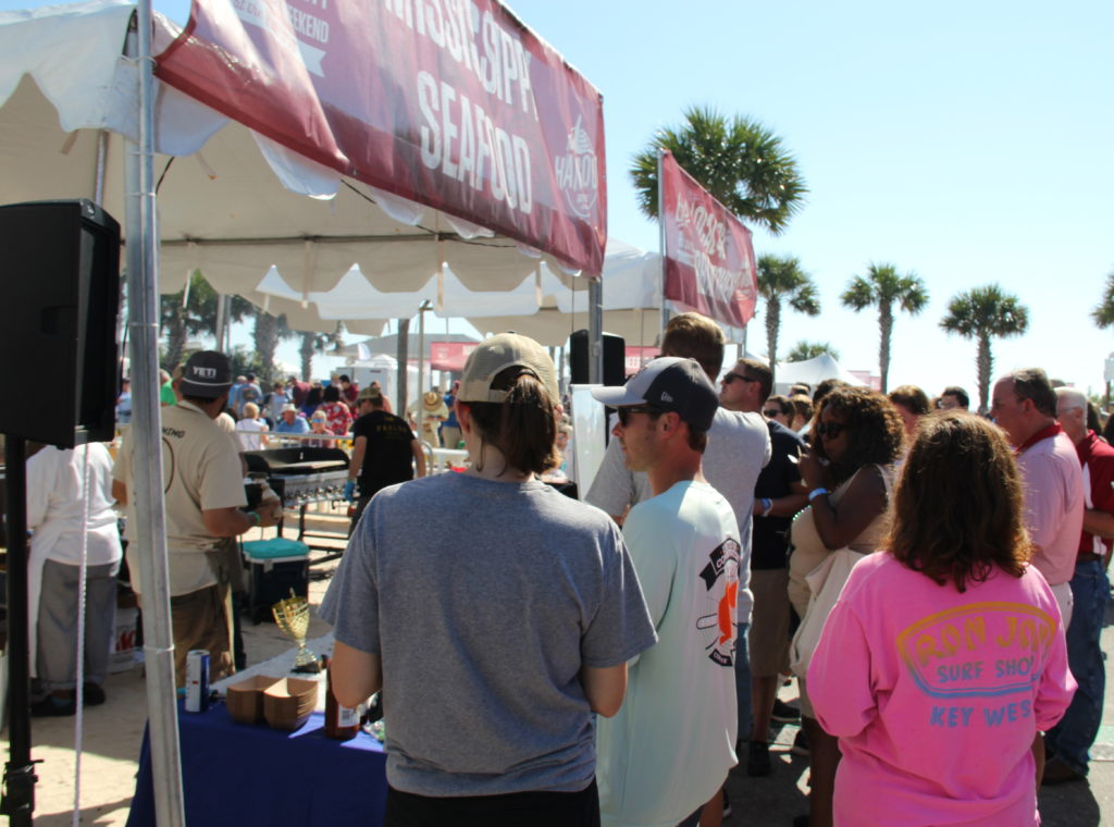 Oyster lovers lining up to savor the best of the best at the Hangout Oyster Festival Gulf Shores, Alabama. Photo Credit: Tom Wilmer