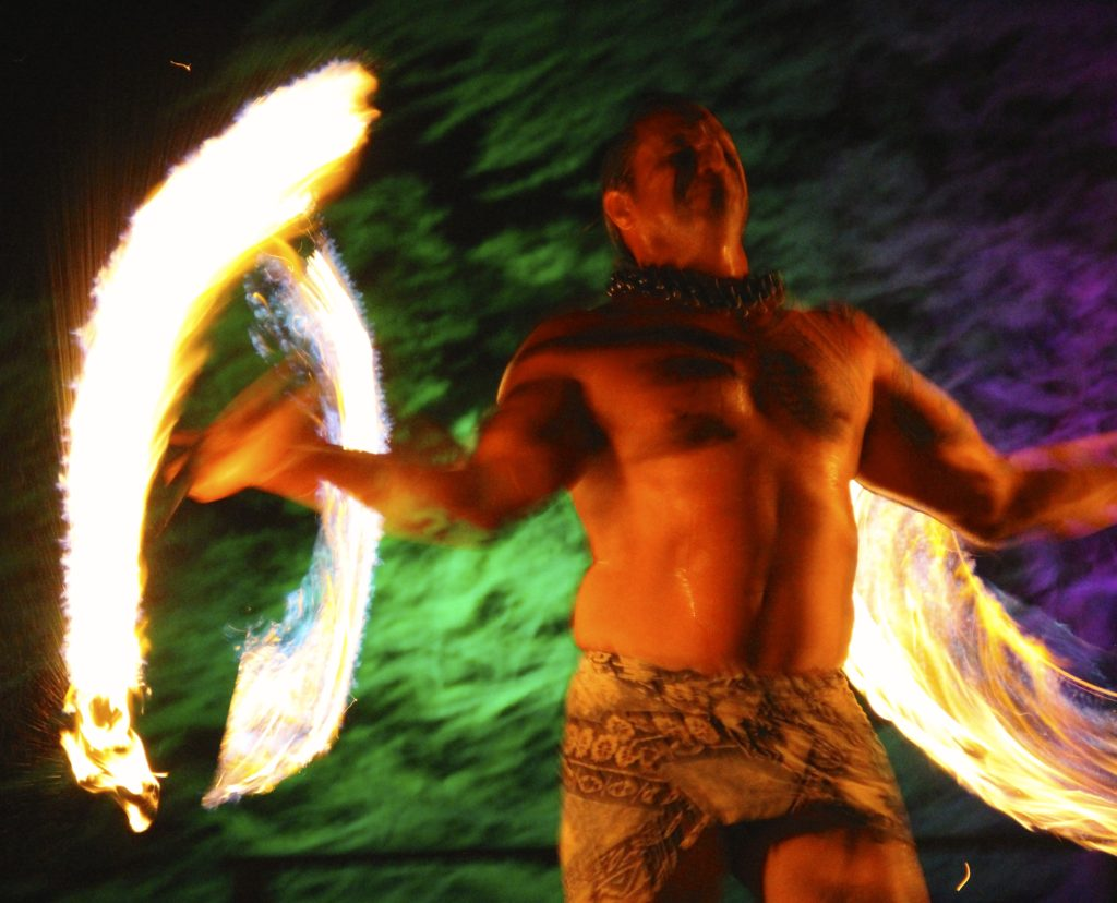 Lim Family Luau Fire Dancer at Mauna Kea Resort Hotel