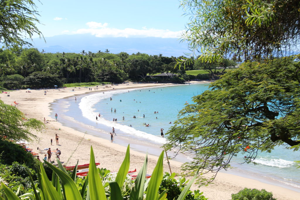 Mauna Kea Resort Hotel's stunning crescent shaped beach