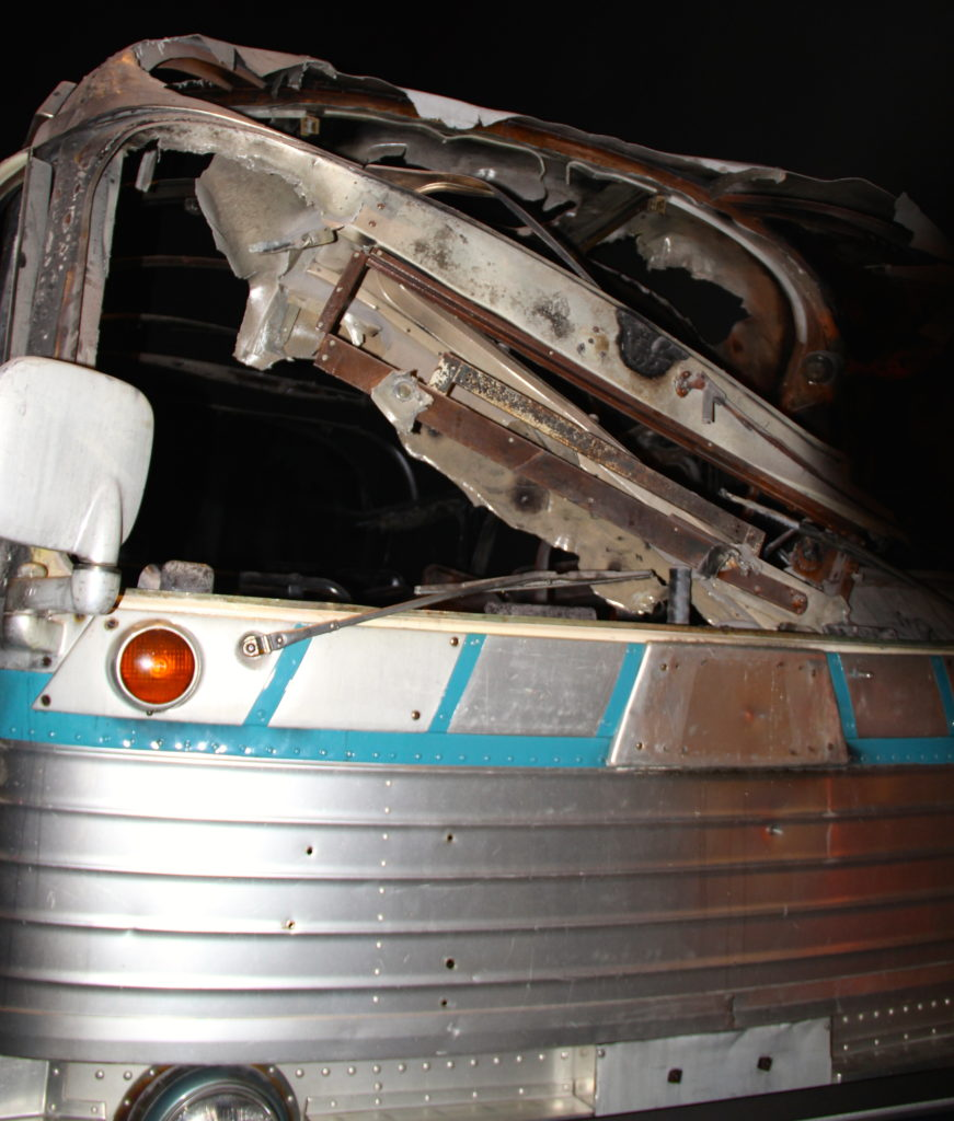 Hulk of the firebombed Greyhound Bus on display at the National Civil Rights Museum in Memphis, Tennessee. Photo Credit: Tom Wilmer