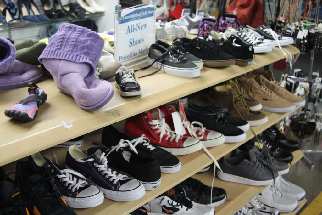 New shoes for sale at Saint Vincent de Paul's Thrift Store in downtown Los Angeles