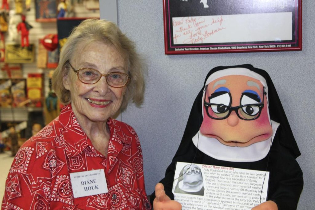 Diane Houk at the American Puppetry Institute in Independence, Missouri