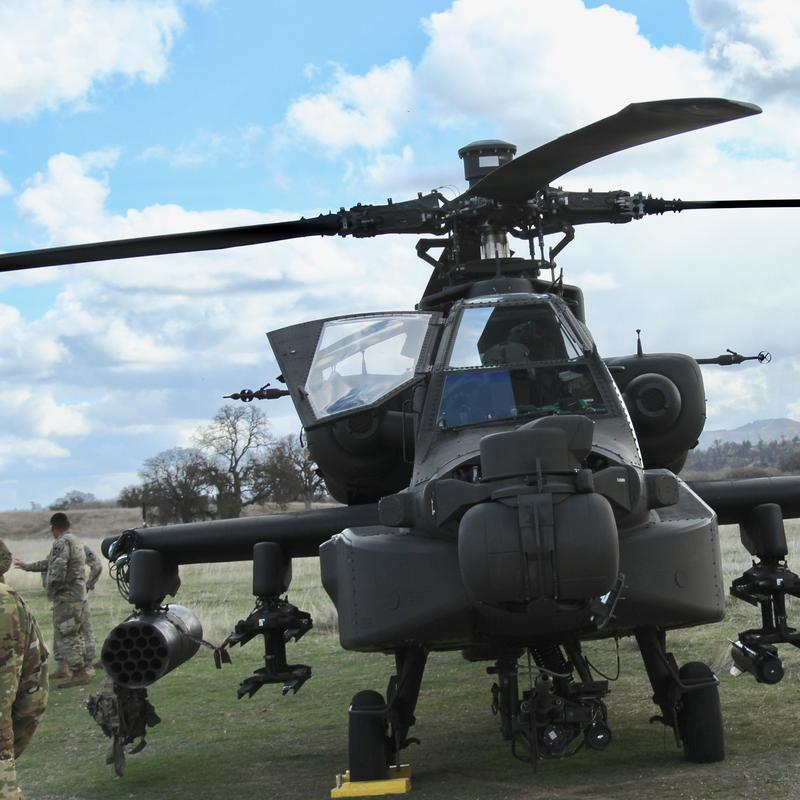 7th infantry Division Apache helicopter participating in Bayonet Focus 18-02 training exercise at Fort Hunter Liggett