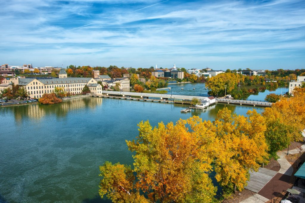 Downtown Appleton, Wisconsin with Fox River in foreground. Photo Credit: foxcities.org